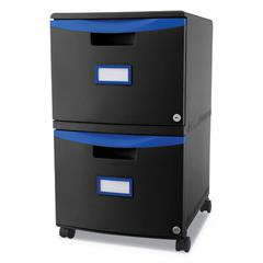 Two-Drawer Mobile Filing Cabinet, 14 3/4w x 18 1/4d x 26h, Black/Blue
