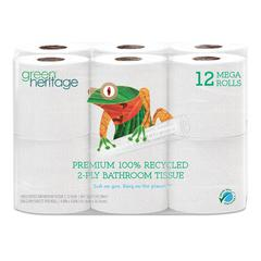 Green Heritage Pro Retail Bathroom Tissue, 2-Ply, 350 Sheet, 4 Rolls, 48/Carton