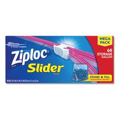 Slider Storage Bags, Gallon, Clear, 9/Carton