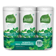 Multi Purpose Wipes, 7 x 7 1/2, Garden Mint, 37 Wipes/Container, 3 Container/PK