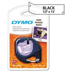 """DYMO LetraTag Plastic Label Tape Cassette, 1/2"""" x 13ft, Clear"""