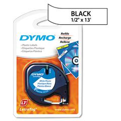 "DYMO LetraTag Plastic Label Tape Cassette, 1/2"" x 13ft, White"