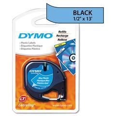 """LetraTag Plastic Label Tape Cassette, 1/2"""" x 13ft, Blue"""