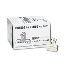 "X-ACTO Bulldog Clips, Steel, 7/16"" Capacity, 1-1/4""w, Nickel-Plated, 36/Box"