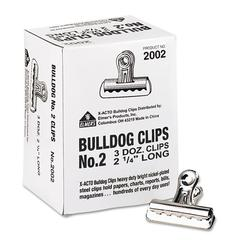 "X-ACTO Bulldog Clips, Steel, 1/2"" Capacity, 2-1/4""w, Nickel-Plated, 36/Box"