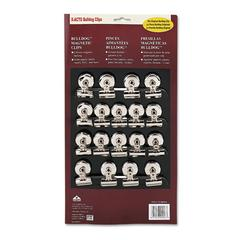 "X-ACTO Bulldog Magnetic Clips, Steel, 1-1/4""w, Nickel-Plated, 18/Box"