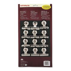 "X-ACTO Bulldog Magnetic Clips, Steel, 2-1/4""w, Nickel-Plated, 12/Box"