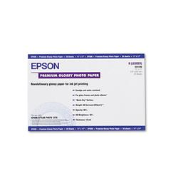 Epson Premium Photo Paper, 68 lbs., High-Gloss, 11 x 17, 20 Sheets/Pack