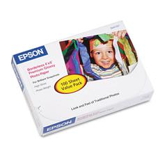 Epson Premium Photo Paper, 68 lbs., High-Gloss, 4 x 6, 100 Sheets/Pack