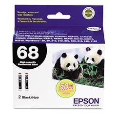 Epson T068120D2 (68) DURABrite Ultra High-Yield Ink, Black, 2/PK