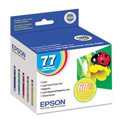 Epson T077920 (77) Claria High-Yield Ink, Assorted, 5/PK