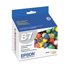 Epson T087020 (87) UltraChrome Hi-Gloss 2 Gloss Optimizer, Clear, 4/PK