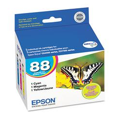 Epson T088520 (88) Ink, Cyan/Magenta/Yellow, 3/PK