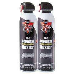 Disposable Compressed Gas Duster, 17 oz Cans, 2/Pack