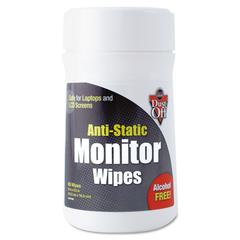 Premoistened Monitor Cleaning Wipes, Cloth, 6 x 6 1/2, 80/Tub