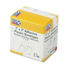 "First Aid Only Plastic Adhesive Bandages, 1"" x 3"", 100/Box"