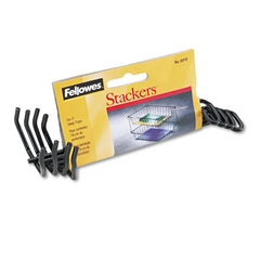 "Fellowes Desk Tray Stacking Posts for 3"" Capacity Trays, Black, Four Posts/Set"