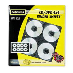 Fellowes Two-Sided CD/DVD Refill Sheets for Three-Ring Binder, 25/Pack