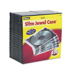 Fellowes Slim Jewel Case, Clear/Black, 100/Pack