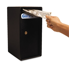 Gary by FireKing Theft Resistant Compact Cash Trim Safe, 0.2 ft3, 6w x 7d x 12h, Black
