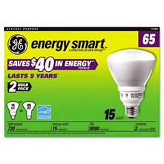 GE Compact Fluorescent Bulb, 15 Watt, R30 Reflector, Soft White, 2/Pack