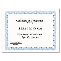 Geographics Parchment Paper Certificates, 8-1/2 x 11, Blue Conventional Border, 50/Pack