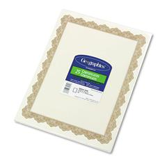 Geographics Parchment Paper Certificates, 8-1/2 x 11, Optima Gold Border, 25/Pack