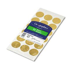 "Self-Adhesive Embossed Seals, 1 1/4"" Dia, Assorted Designs, Gold, 54/Pack"