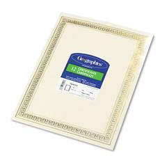 Geographics Foil Enhanced Certificates, 8-1/2 x 11, Gold Flourish Border, 12/Pack