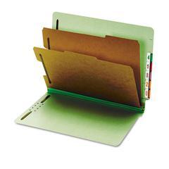 Pendaflex Pressboard End Tab Classification Folders, Six Sections, Letter, Green, 10/Box
