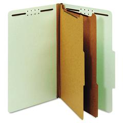 Pendaflex Pressboard Classification Folders, Six Fasteners, 2/5 Cut, Legal, Green, 10/Box