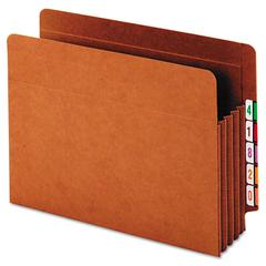 Globe-Weis Heavy-Duty Expanding File Pocket, End Tab, 3 1/2 Inch, Letter, Brown, 10/Box