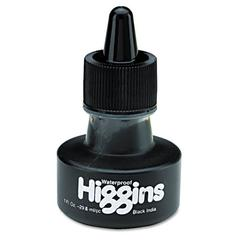 Waterproof Pigmented Drawing Ink, Black, 1oz Bottle