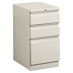 HON Efficiencies Mobile Pedestal File w/One File/Two Box Drwrs, 19-7/8d, Lt Gray