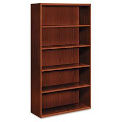 HON Arrive Wood Veneer Five-Shelf Bookcase, 36w x 15-1/8d x 71-1/2h, Henna Cherry