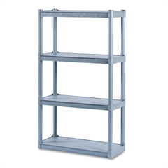 Rough N Ready Four-Shelf Open Storage System, Resin, 32w x 13d x 54h, Charcoal
