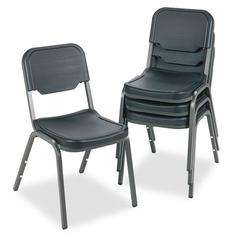Iceberg Rough N Ready Series Original Stack Chair, Resin, Black/Gray, 4/Carton