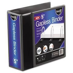 """Gapless Loop Ring View Binder, 11 x 8-1/2, 5"""" Capacity, Black"""
