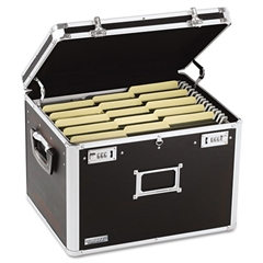 Vaultz Locking File Chest Storage Box, Letter/Legal, 17-1/2 x 14 x 12-1/2, Black