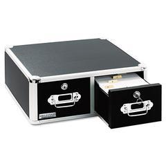 Vaultz Locking 6 x 4 Two-Drawer Index Card Box, 3000-Card Capacity, Black