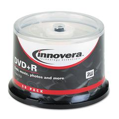 Innovera DVD+R Discs, 4.7GB, 16x, Spindle, Silver, 50/Pack