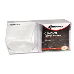 Innovera CD/DVD Standard Jewel Case, Clear, 10/Pack