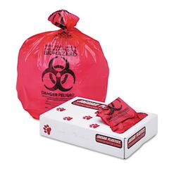 "Health Care ""Biohazard"" Printed Liners, 1.3mil, 24 x 32, Red, 250/Carton"