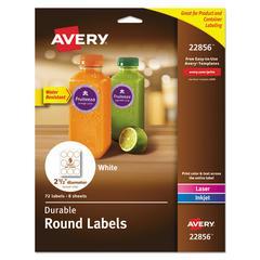 """Durable White Round ID Labels, 2 1/2"""" dia., White, 72/Pk"""