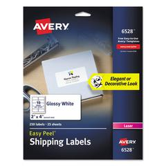 Glossy White Easy Peel Mailing Labels, Laser, 2 x 4, 10/Sheet, 25 Sheets/PK