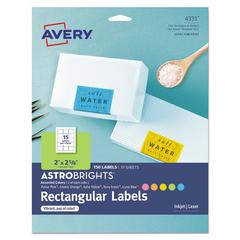 Color Easy Peel Labels, 2 x 2 5/8, Assorted, 15/Sheet, 10 Sheets/PK