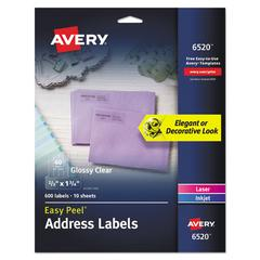 Glossy Clear Easy Peel Mailing Labels, 2/3 x 1 3/4, 60/Sheet, 10 Sheets/PK
