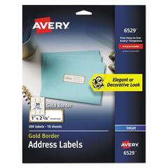 Easy Peel Address Labels w/ Border, Gold, 1 x 2 5/8, 30/Sheet, 10 Sheet/Pack