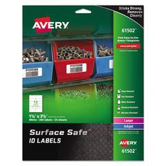 Surface Safe ID Labels, Inkjet/Laser, 1 5/8 x 3 5/8,White,12/Sheet, 25 Sheets/PK