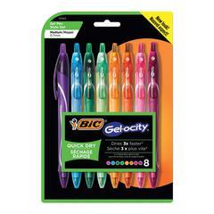 Gel-ocity Quick Dry Retractable Gel, Assorted Ink, Medium, 8/PK